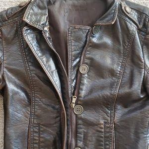 Dark brown vegan leather jacket